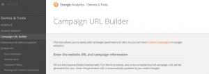 captura de pantalla de página de inicio de URL builder